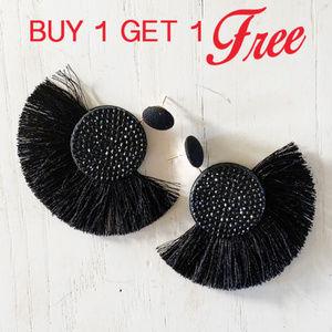 Jewelry - BOGO! Black Statement Tassel Earrings